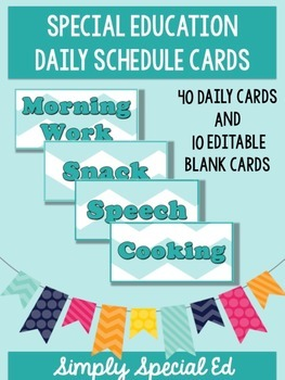Blue Chevron SPED Daily Schedule Cards