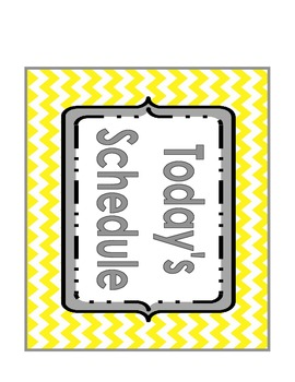 Chevron Daily Schedule Cards- Yellow and Gray