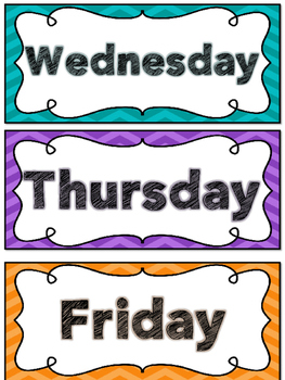 Chevron Days of the Week Cards