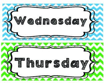 Chevron Days of the Week FREEBIE!