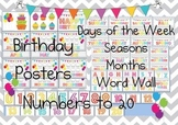 Chevron Decorations Birthday Chart, Numbers, Months, Seasons, Word Wall, Days