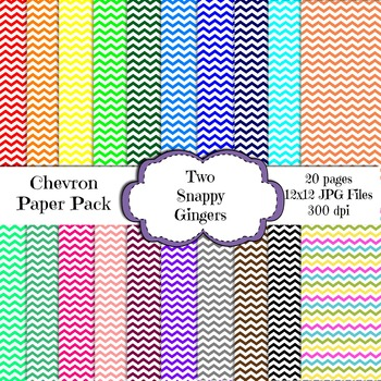 Chevron Design Digital Paper - 20 different colors