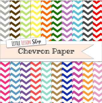 Chevron Digital Paper Background Set Multiple Colors