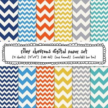 Chevron Digital Paper Backgrounds, Orange, Yellow, Blue, Gray for TpT Sellers