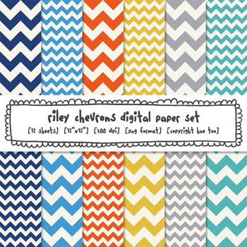 Chevron Digital Paper Backgrounds, Orange, Yellow, Blue, G