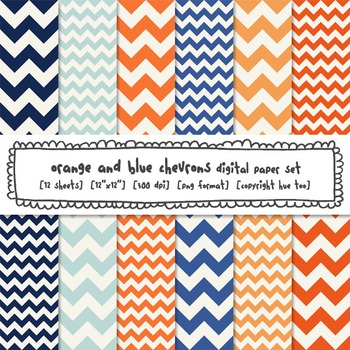 Chevron Digital Paper Backgrounds, Orange and Navy Blue, f