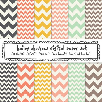Chevron Digital Paper Backgrounds, Pink, Mustard Yellow, Aqua and Gray