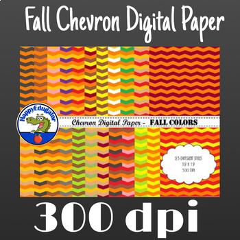 Chevron Digital Paper - Fall Colors