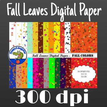 Fall Leaves Digital Paper - Fall Colors