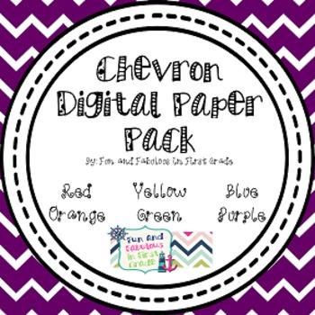 Chevron Digital Paper Pack FREEBIE- Red, Yellow, Orange,Green, Blue, Purple