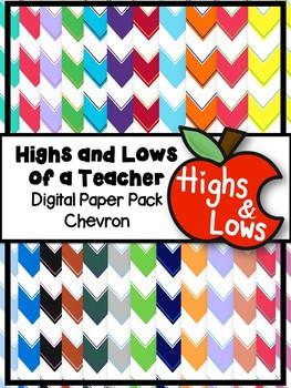 Chevron Digital Paper Set / Chevron Backgrounds (40 Colors)