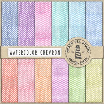 Chevron Digital Paper - Watercolor ZigZag