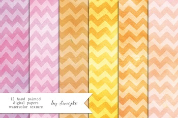 Chevron Digital Paper, printable background, watercolor te