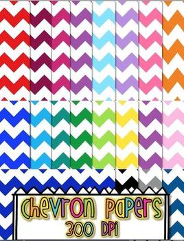Chevron Digital Papers 12x12 20 COLORS