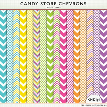 Chevron Digital Papers - Candy Store Collection