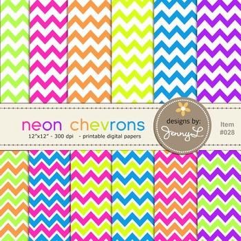 Chevron Digital Papers : Neon Colors