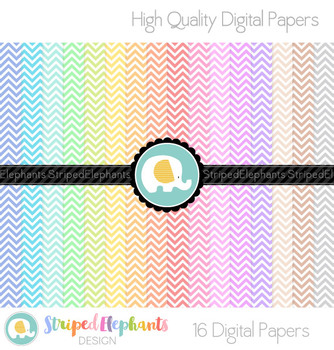 Chevron Digital Papers Pastel Small