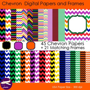 Chevron Digital Papers and Matching Frames for Work books, Cover Pages & Sellers
