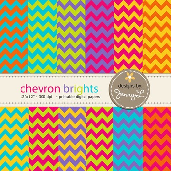 Chevron Digital Papers : in Bright Colors