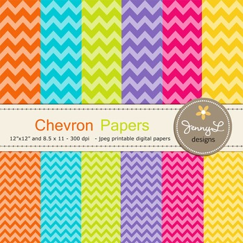 Chevron Digital Papers : in Bright Colors Graphics for teachers 2 sizes