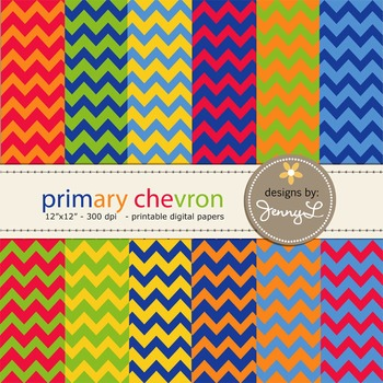Chevron Digital Papers : in Primary Colors