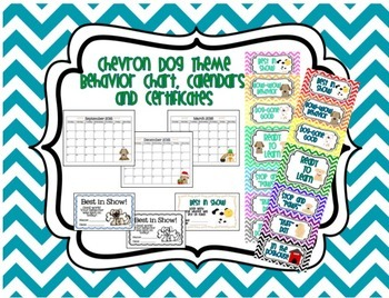 Dog Theme Chevron Behavior Chart, Calendars, & Certificates