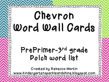 Chevron Dolch word wall cards: Pre-Primer-3rd