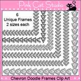 Borders - Chevron Doodle Frames / Borders Clip Art - Personal & Commercial Use