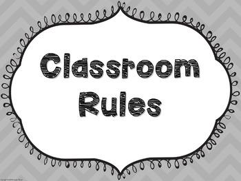 Chevron Classroom Rule Posters (Editable)
