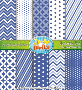 Chevron & Dot Digital Scrapbook Pack — Blueberry Blue (10 Pages)