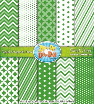 Chevron & Dot Digital Scrapbook Pack — Forest Green (10 Page)