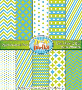 Chevron & Dot Digital Scrapbook Pack — Lime Green and Blue