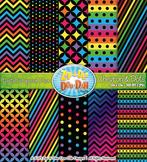 Neon Rainbow Chevron & Dot Digital Scrapbook {Zip-A-Dee-Doo-Dah Designs}