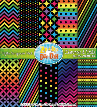 Neon Rainbow Chevron & Dot Digital Scrapbook {Zip-A-Dee-Doo-Dah Designs}