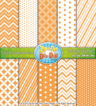 Chevron & Dot Digital Scrapbook Pack — Orange Sherbet (10 Pages)