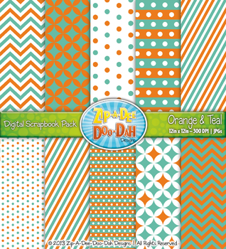 Chevron & Dot Digital Scrapbook Pack — Orange and Teal (10 Pages)