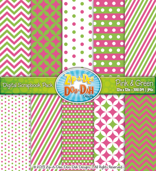 Chevron & Dot Digital Scrapbook Pack — Pink and Green (10 Pages)