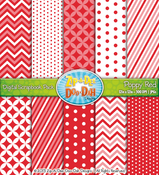 Chevron & Dot Digital Scrapbook Pack — Poppy Red (10 Pages)