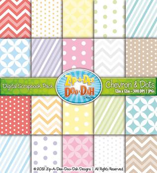 Chevron & Dot Digital Scrapbook Pack (Rainbow Pastel) — Includes 100 Pages!