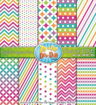 Retro Rainbow Chevron & Dot Digital Scrapbook {Zip-A-Dee-Doo-Dah Designs}