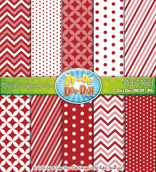 Chevron & Dot Digital Scrapbook Pack — Ruby Red (10 Pages)