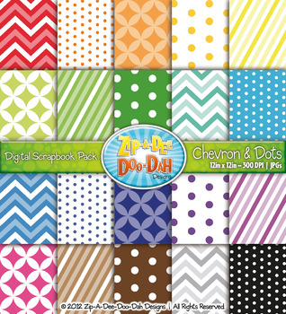 Chevron & Dot Digital Scrapbook Pack (Bright Rainbow) — Includes 200 Pages!