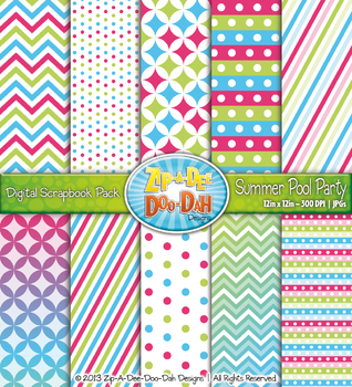 Chevron & Dot Digital Scrapbook Pack — Summer Pool Party (10 Pages)