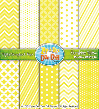 Chevron & Dot Digital Scrapbook Pack — Sunshine Yellow (10 Pages)