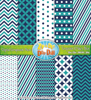 Chevron & Dot Digital Scrapbook Pack — Turquoise and Navy
