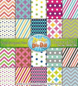 Chevron & Dot Digital Scrapbook Pack (Two Toned) — Includes 200 Pages!