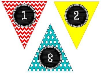 Chevron & Dots Banner Cubby Labels