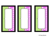 Chevron & Dots Labels/Tags--Green & Pink (blank)--FREEBIE!
