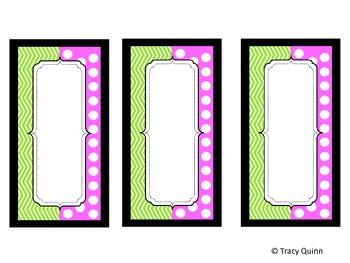 Chevron & Dots Labels/Tags--Green & Pink (blank)--FREEBIE!