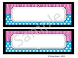 Chevron & Dots Nameplates/Tags--Pink & Blue (blank)